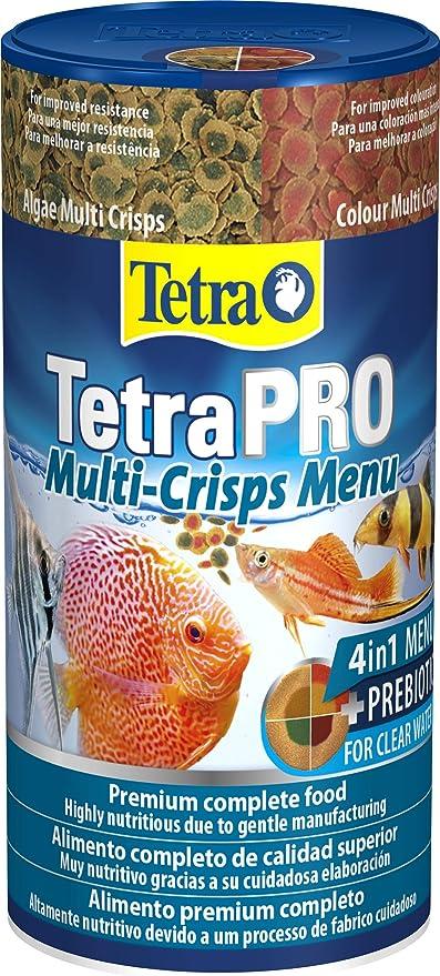 Tetra Pro Multi-Crisps Menu 250 ml - Alimento completo con un valor nutritivo óptimo, los 4 tipos de Multi-Crisps garantizan una dieta variada