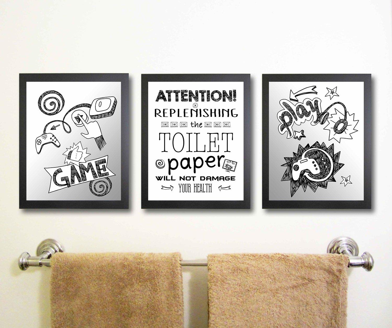 Video Game Themed Art Print Bathroom Wall Decoration (Set or Three) Gamer  Bath