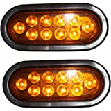 "2KL-35100AK AMBER Oval 6"" Sealed LED Turn Signal and Parking Light Kit with Light, Grommet and Plug"