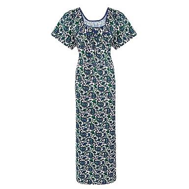 4df513d913 The Orange Tags Ladies 100% Cotton Black Long Nightdress Nightie Lounger  Nighty-Blue-L (10-16)  Amazon.co.uk  Clothing