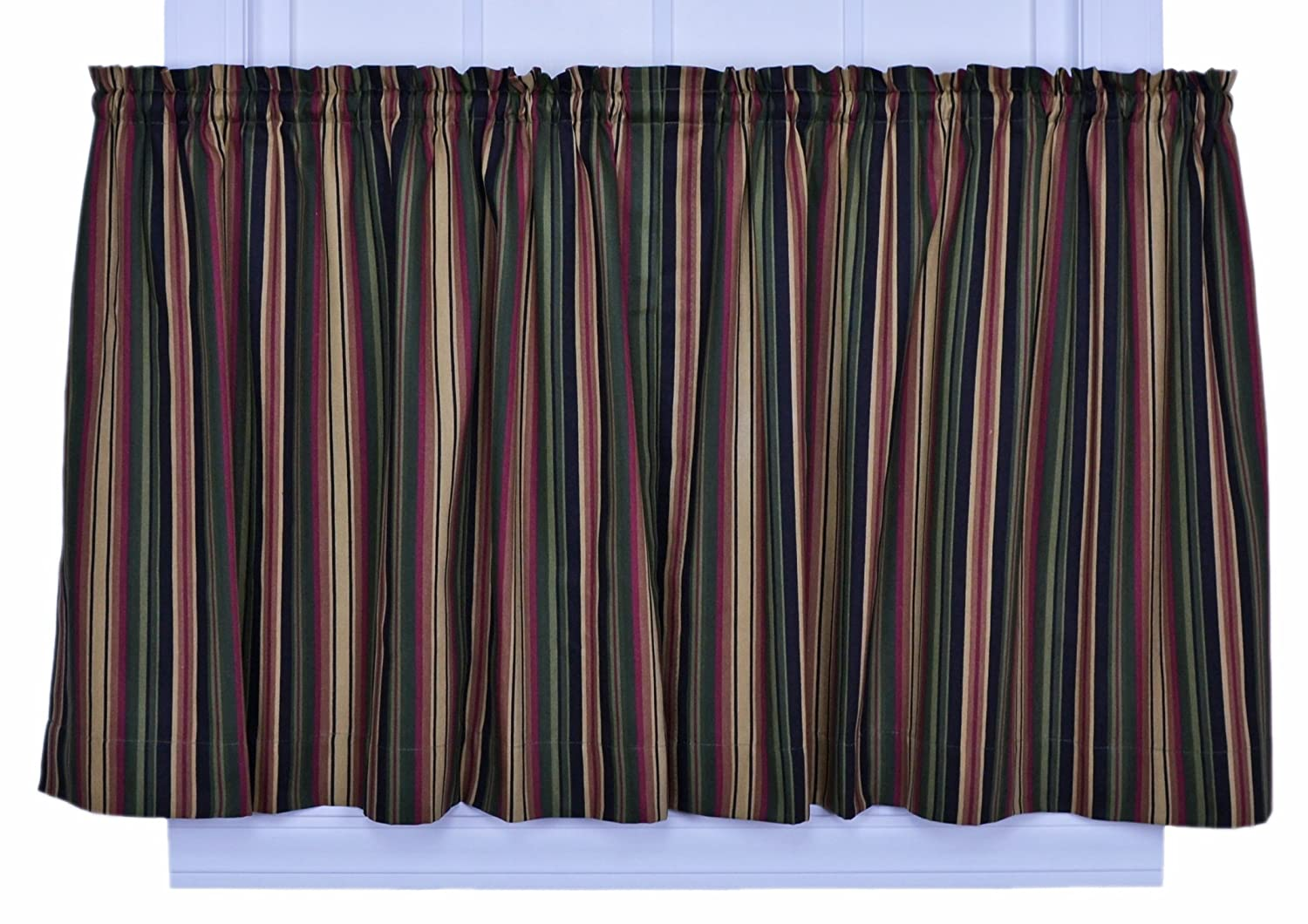 Ellis Curtain Montego Stripe 82-Inch by 24-Inch Tailored Tier Curtains, Black