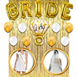 Bachelorette Party Decorations - Bridal Shower Kit   Bride to Be Sash, Veil + Ring Foil Balloon,Bride Foil Balloon,Set of 8 Latex Balloons 4 Pearly White & 4 Gold,Metallic Gold Curtains