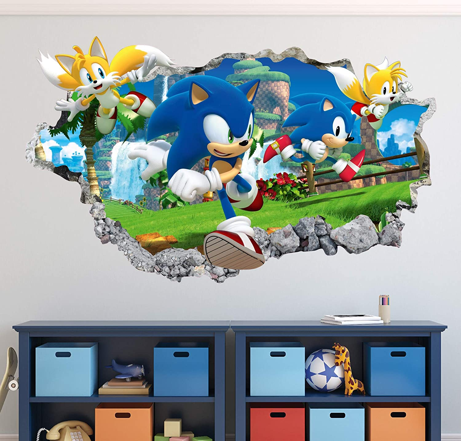 Amazon Com Sonic Wall Decal Art Decor 3d The Hedgehog Smashed Sticker Kids Mural Poster Gift Ha22 30 W X 18 H Home Kitchen