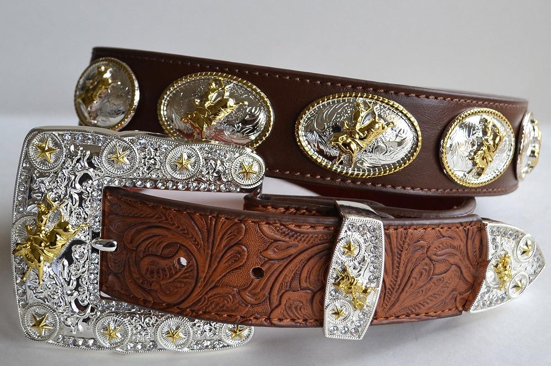 Brown western longhorn golden rodeo show belt buckle belt leather M L XL