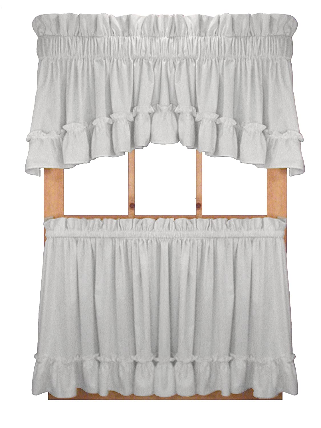 Window Toppers Stephanie Country Style Ruffle Crescent Valance Curtain – 3 Inch Rod Pocket, White