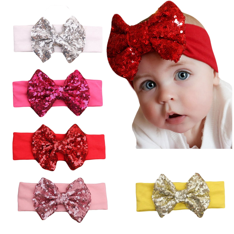 Amazon.com  Zando Baby Girls Infant Toddler Soft Cute Headband Head Bows  Sweet Hairband Big Bows1 5 Pack  Clothing e3c3b849ce5