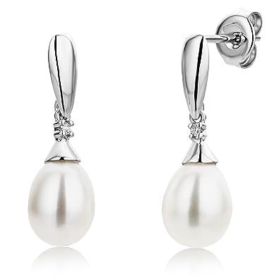 5d7aba902 Miore Earrings Women Freshwater Pearls Drop earrings with Brilliant Cut  Diamonds White Gold 9 Kt / 375: Amazon.co.uk: Jewellery