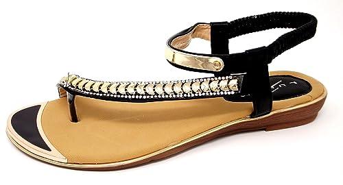 JLH753 Asia Ladies Diamante Asymmetric Stretchy Strap Holiday Fashion  Sandals [Black, UK 3]