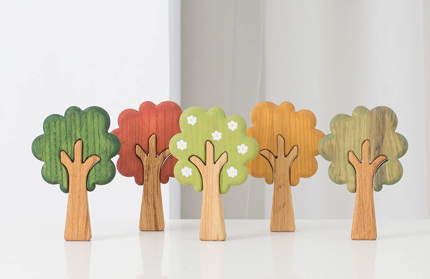 Set of season wood trees (5pcs) A good learning toy for toddlers and preschoolers to explore seasons and add to waldorf nature table