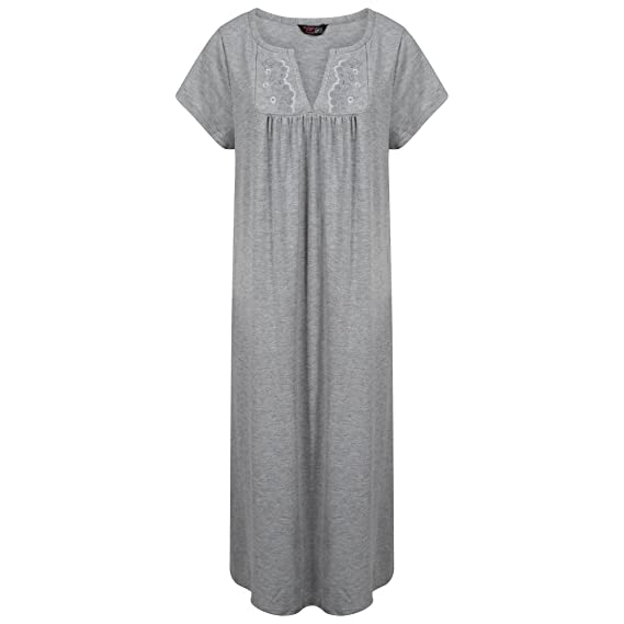 abc46e95cb Indigo Sky Ladies Plus Size Long Embroidered Jersey Nightdress  Mauve Purple
