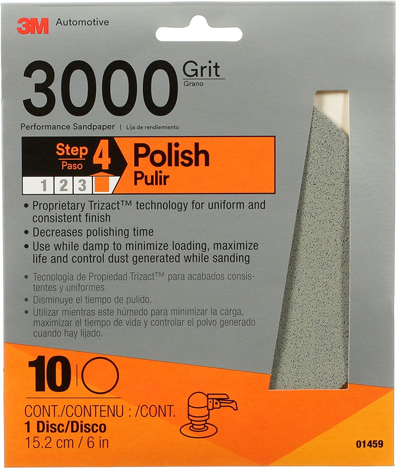 3M Trizact Performance Sanding Abrasive Disc, 01459, 6 in, 3000 grit
