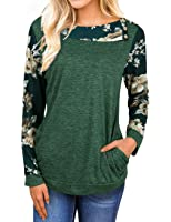Faddare Women's Comfy Raglan Floral Print Long Sleeve Blouse Tops With Pocket