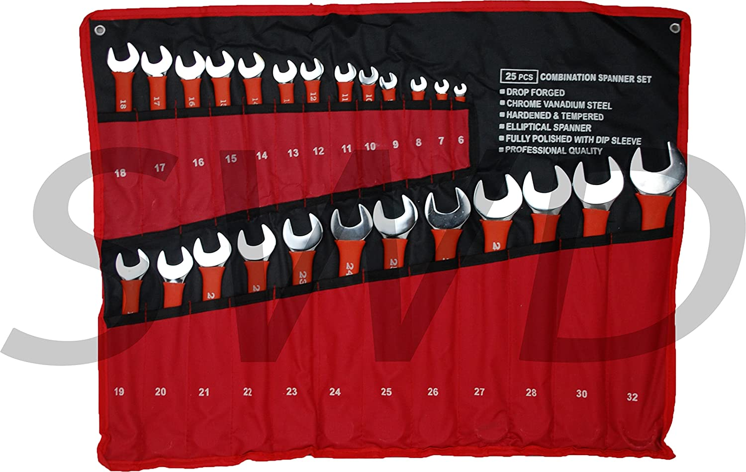25pc combination spanner set open and ring metric dipped sleeves