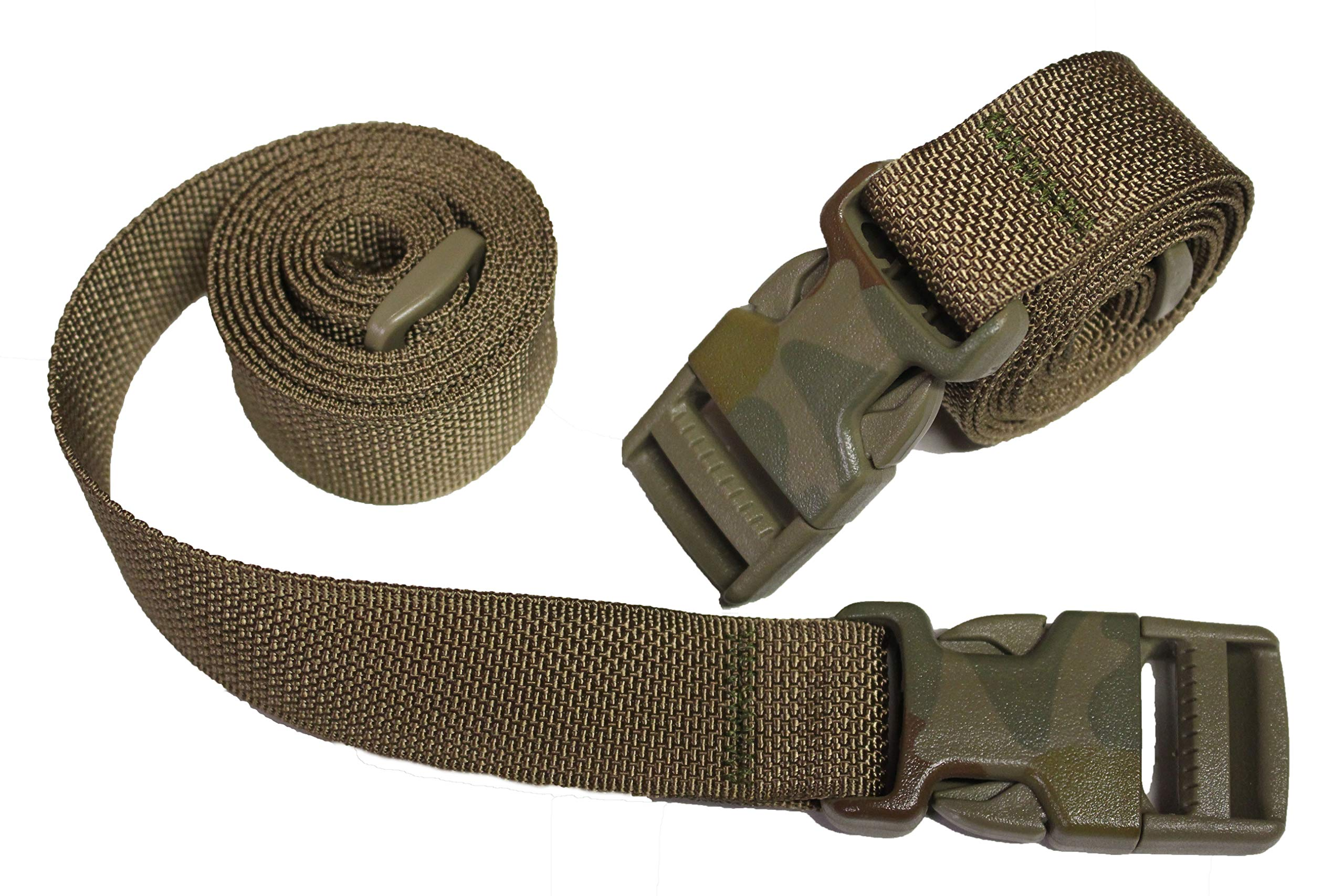 Molle Backpack Accessory Straps - Quick Release Buckle - Made in USA (Coyote Brown (Camo Buckle & HD Mil Spec Nylon))