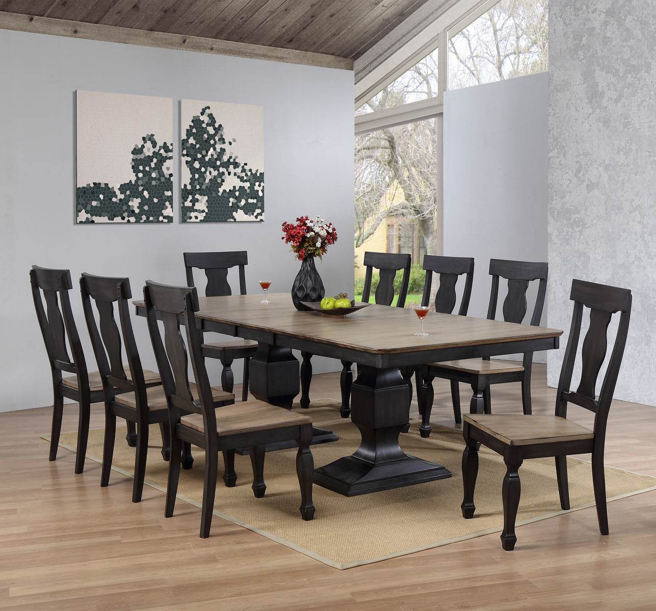 Kings Brand Alleyton 9 Piece Charcoal & Oak Wood Dining Room Set, Extendable Table & 8 Chairs