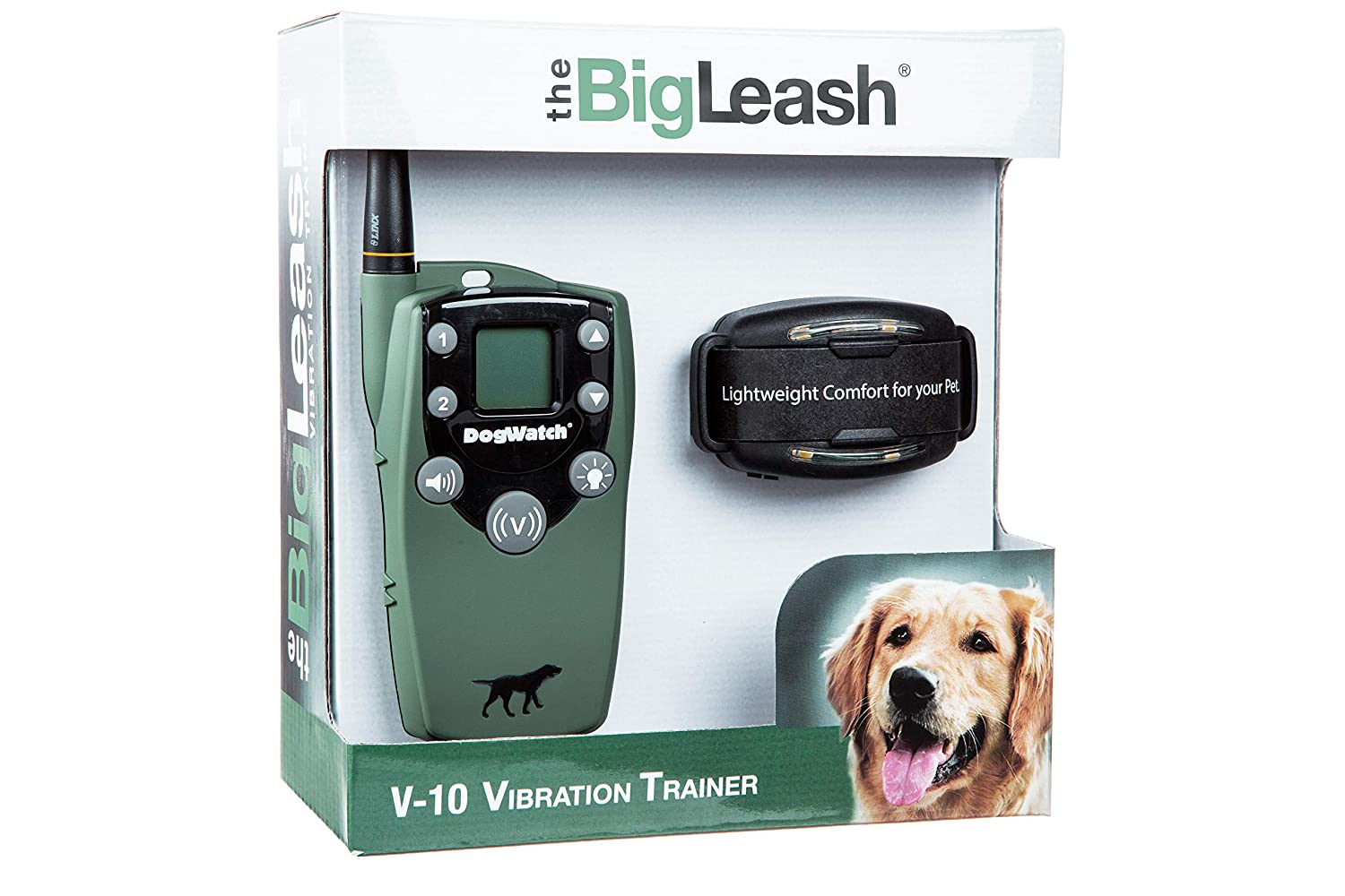 DogWatch BigLeash V-10 Vibration Dog Training Collar Safe and Effective E-Collar with Two-Way Communication up to Mile, 10 Adjustable Vibration Levels Plus an Audible Signal, Waterproof, Recharge