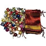 KRIWIN® 80 pcs Small/Mini Christmas Tree Decorations Set (Balls, Bells, Gifts, Drums, Stars, Candy Sticks,Santa Claus& Gift Bags) (80)