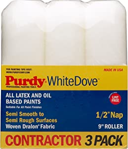 """Purdy GIDDS-800630 3 Pack Roller Covers White Dove 9"""" x 1/2"""" Nap, 9 inch"""