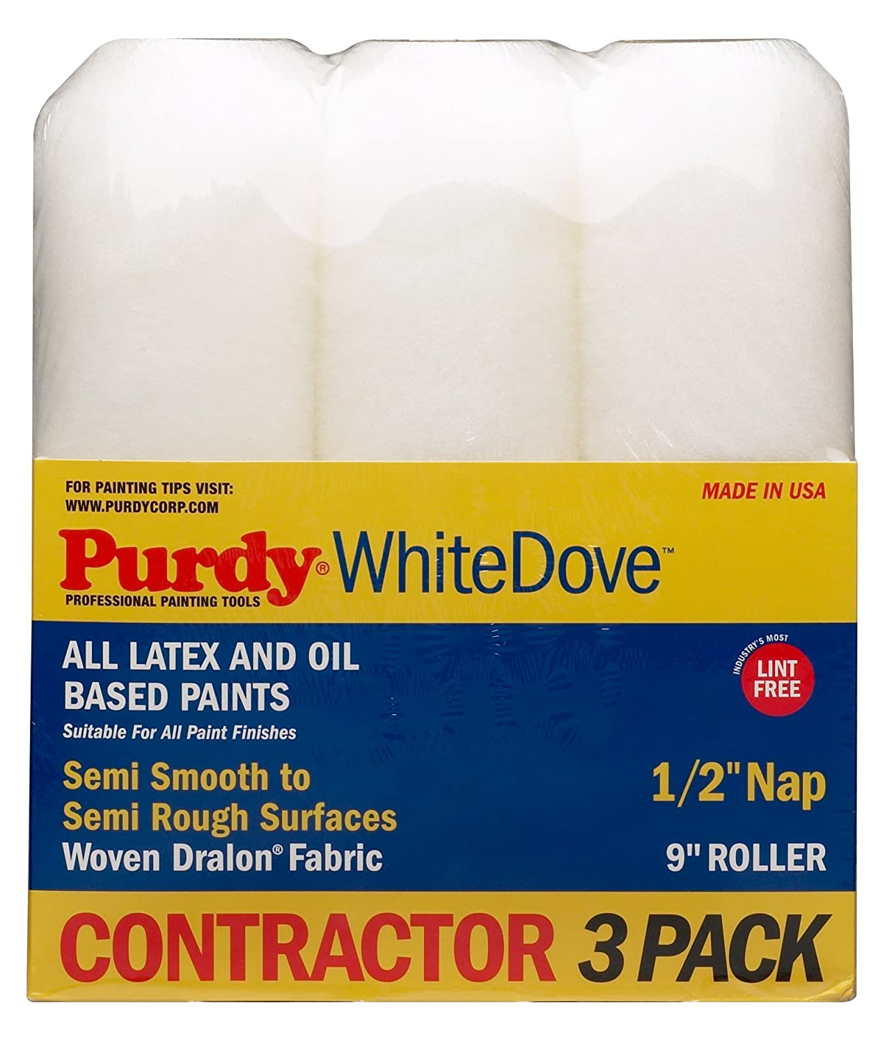 """3 Pack Roller Covers White Dove 9"""" x 1/2"""" Nap"""