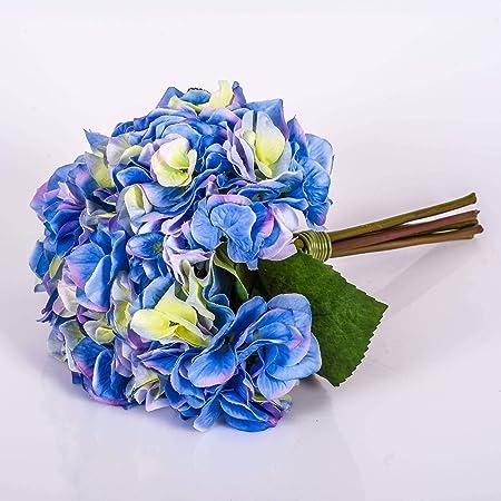 Mazzo Di Fiori Blu.Bouquet D Ortensie Ornamnetali Klara Blu 30 Cm O 18 Cm Mazzo