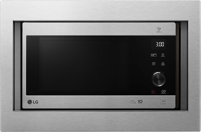 LG MH6565CPST - Microondas grill con tecnología Smart Inverter, kit de encastre, potencia microondas y grill 1450 W, 25 litros de capacidad, display LED, panel táctil y giratorio, acero antihuellas