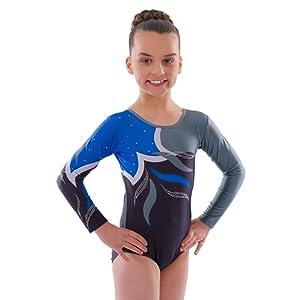 Deluxe 'Adagio' Noir Bleu et Gris vague avec Diamante Gymnastique Leotard ˆ manches