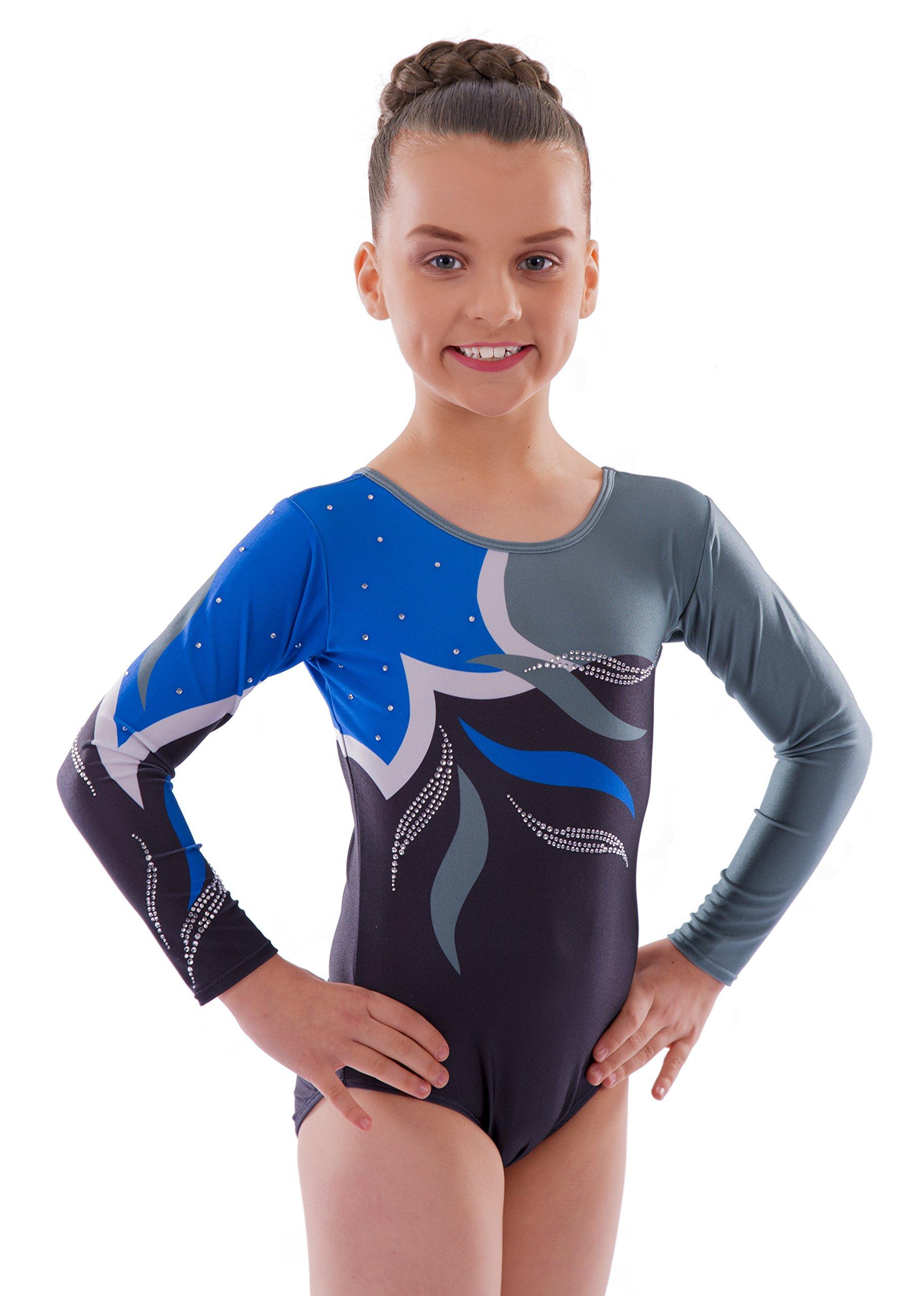 Ukyzddio Little Girls Long Sleeve Shiny Beads Gradient Athletic Dance Gymnastic Leotards