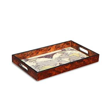 Cheung's FP-4422 Rattan Imports Wood Tray with Glass Top Map Design