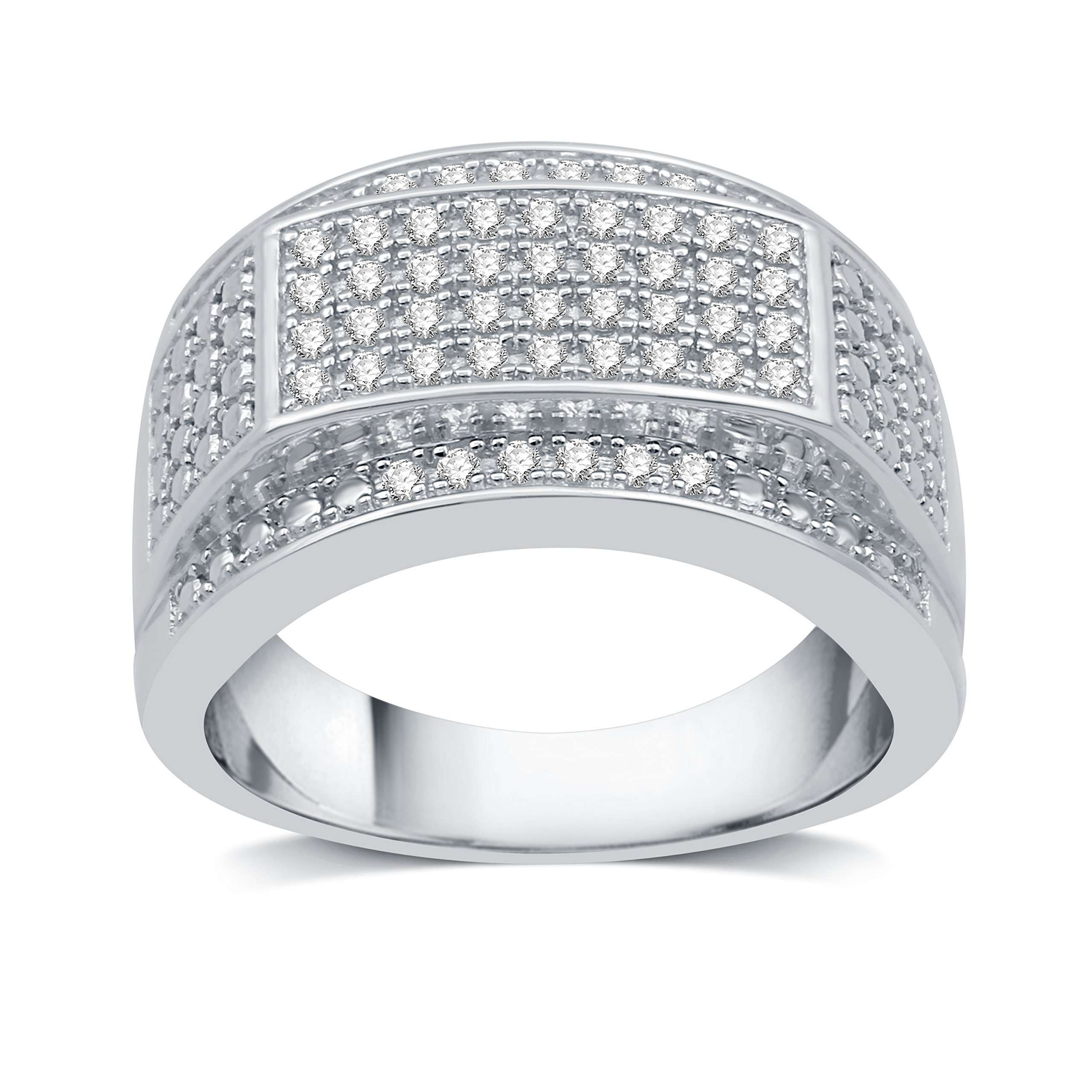 DeCarat 1/2 CT.T.W. Diamond Sterling Silver Multiple Lined Mens Wedding Band by DeCarat