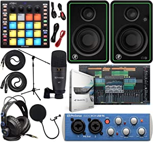 "PreSonus AudioBox 96 Audio Interface Full Studio Kit with Studio One Artist Software Pack w/ATOM Midi Production Pad Controller w/Mackie CR3-X Pair Studio Monitors & 1/4"" TRS to TRS Instrument Cable"