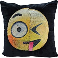 SNUG STAR Reversible Mermaid Sequin Pillowcase, Emoji Cushion Cover Changeable Face Pillow Cases DIY Decorative Pillowcase for Sofa Home Decor 16 X 16