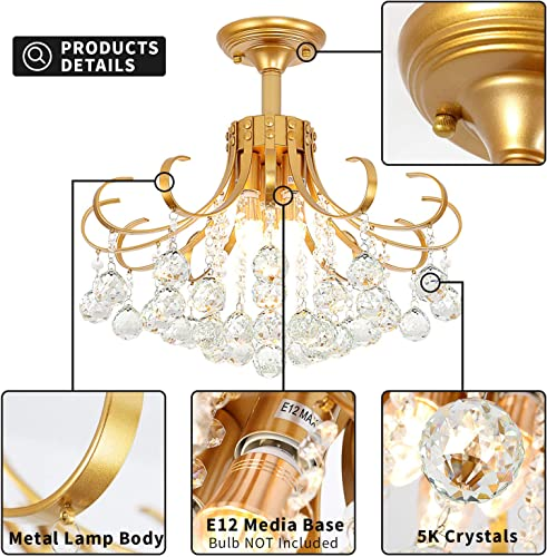 Mini Chandelier Crystal Ceiling Light,Small Flush Mount Chandelier Chandelier Light Fixture