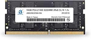Adamanta 16GB (1x16GB) Laptop RAM Upgrade Compatible for Dell Alienware, G-Series, Inspiron, Latitude, Optiplex, Precision, Vostro & XPS DDR4 2666Mhz PC4-21300 SODIMM 2Rx8 CL19 1.2v P/N: SNPCRXJ6C/16G