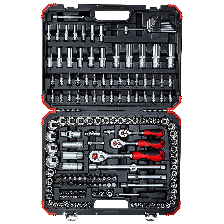 0 V 5//16 Gedore Red R45603172 Maleta con 172 herramientas de 1//4 Negro//Rojo 0 W 3//8 y 1//2