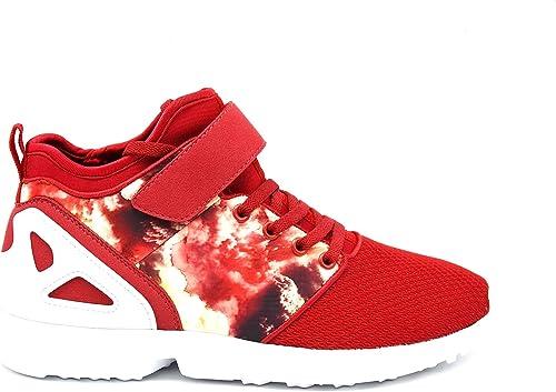 shy21 * – Zapatillas Running Sneakers Tejido Efecto Filete y Estampado Floral con Suela Blanca – Mode Mujer, Negro (Rojo), 41: Amazon.es: Zapatos y complementos