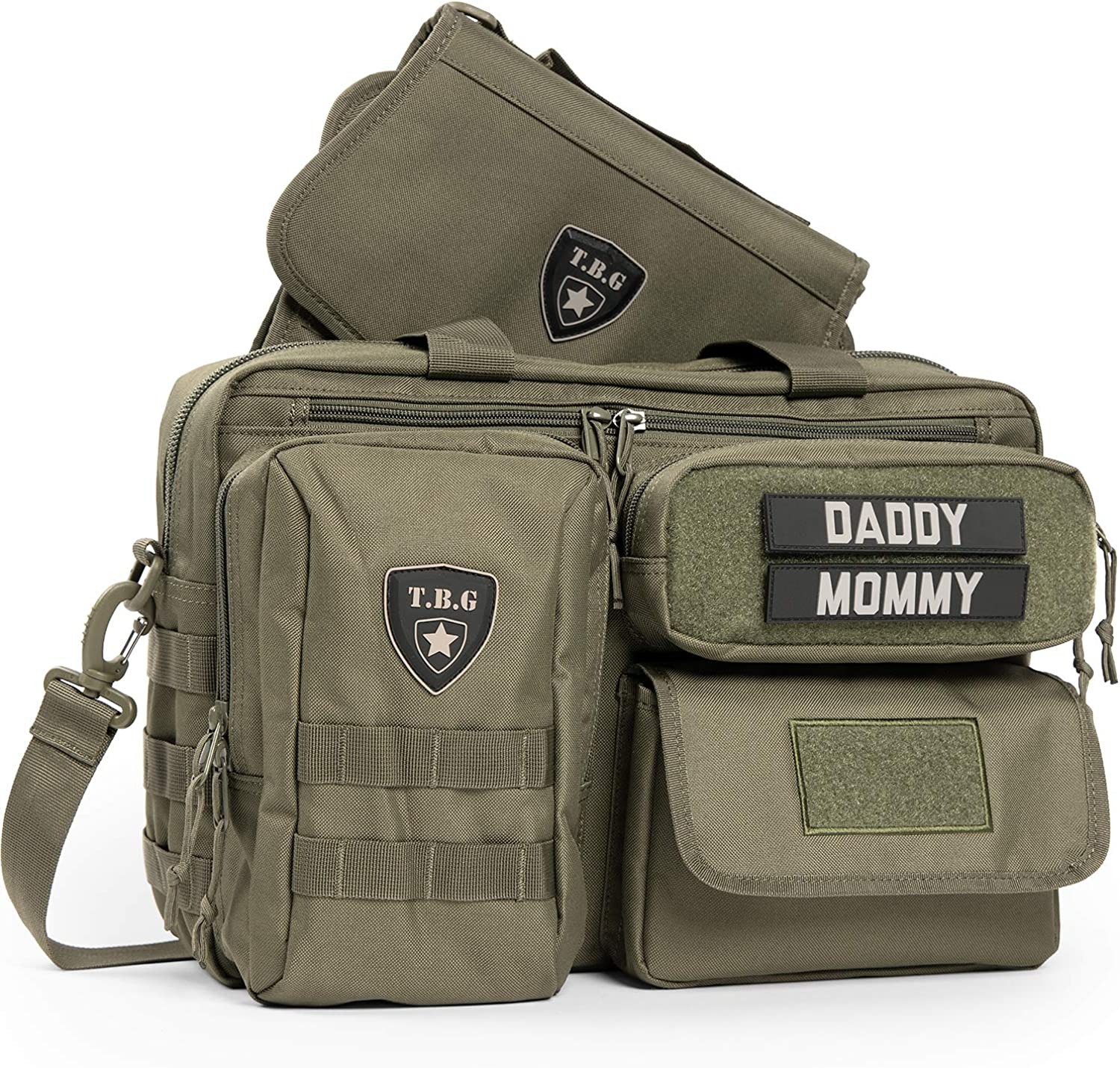 TBG Mens Tactical Diaper Bag for Dads w/Included Changing Mat, Stroller Straps