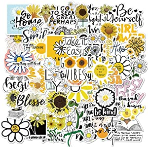 ARPA 50Pcs Daisy Chrysanthemum Inspirational Language Stickers for Laptops Books Cars Motorcycles Skateboards Bicycles Suitcases Skis Luggage Cup Hydro Flasks etc DJHSL