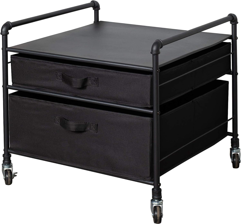The Fridge Stand Supreme - Drawer Organization - Black Pipe Frame with Black Drawers