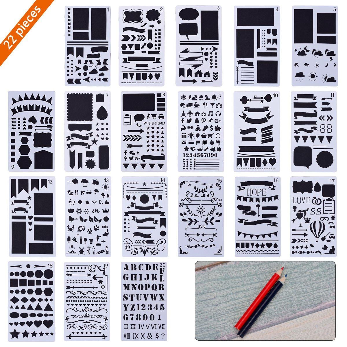 Stencil Bullet Journal TankerStreet 20 Pezzi Stencil di Diario in Plastica Planner con Matite Rosse Blu Template Stencil da Disegno per Notebook Creativo Scrapbook Fai Da Te 4x7 Pollici