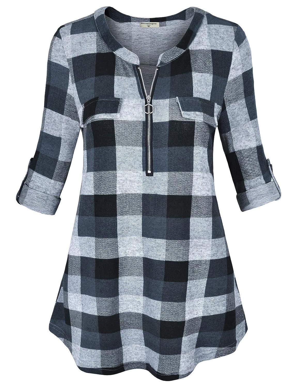 Grey Derminpro Women's V Neck 3 4 Sleeve Short Sleeve Fake Pockets Casual Shirt Plaid Blouse Tops