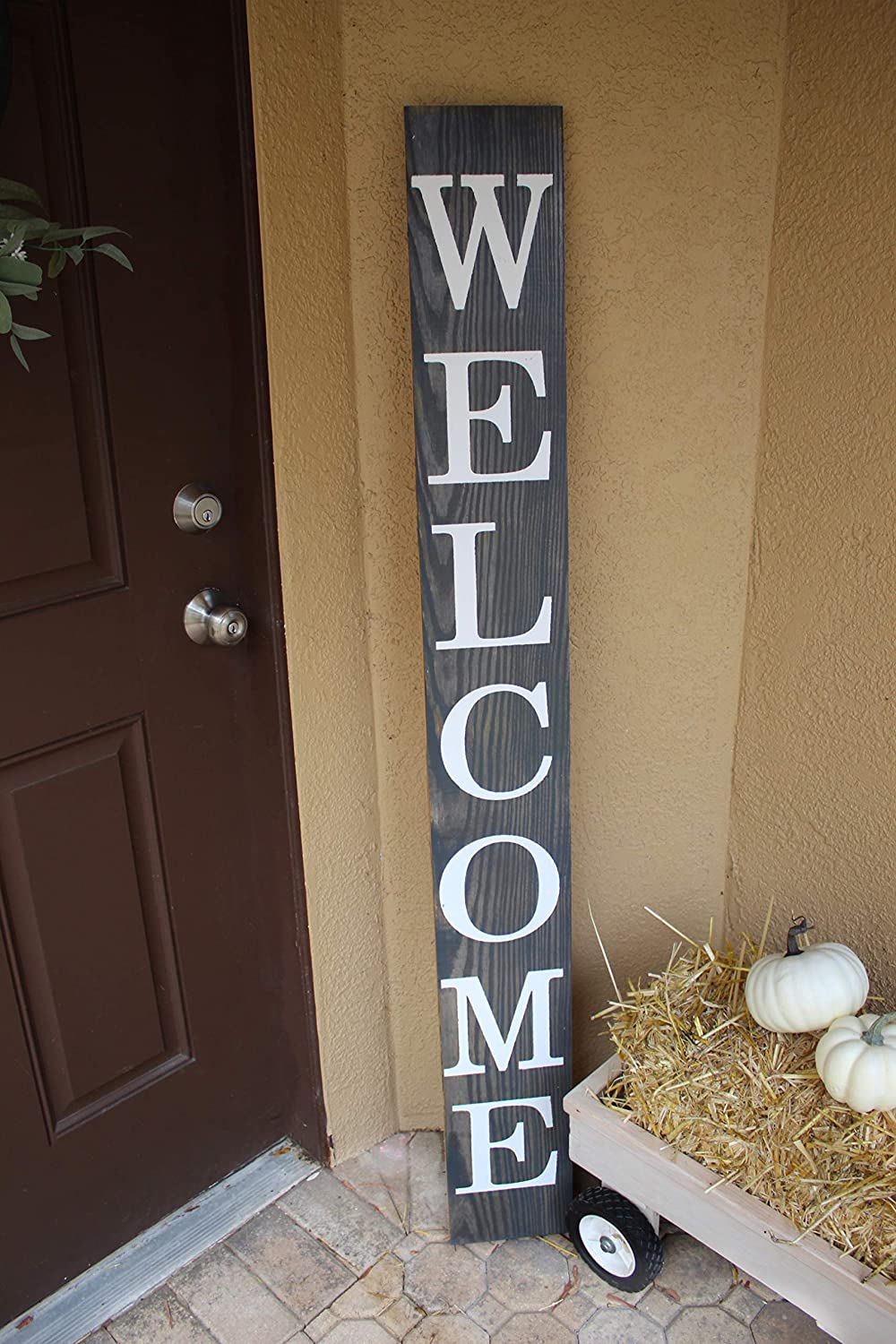 SmithFarmCo Wooden Welcome sign//signs for Front Porch//Front Door//Home Decor Made with Real Wood 5 feet Tall Large Rustic Fixer Upper Farmhouse Style Modern Grey