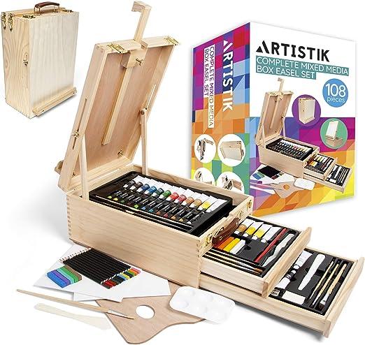 Caballete de mesa de madera para arte - 108 piezas Juego completo ...