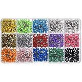 Shappy 1/8 Pouces Petite Carte Tacks Push Pins, Tête en Plastique avec Pointe en Acier, 900 Pièces, Couleurs Assorties