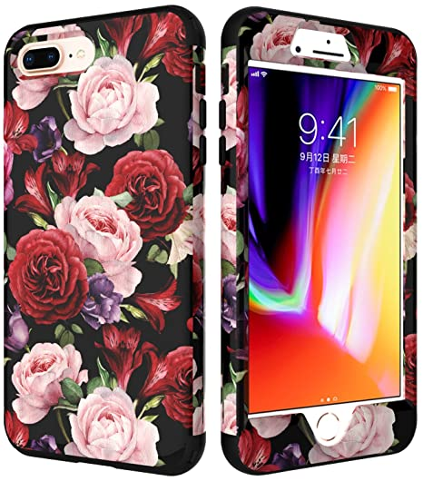 sale retailer 47687 59bdd iPhone 8 Plus Case for Girls,iPhone 7 Plus Flowers Case,VSCase(TM) 3in1  [Shockproof] Drop-Protection Hybrid Impact Defender Heavy Duty Full-Body  Case ...