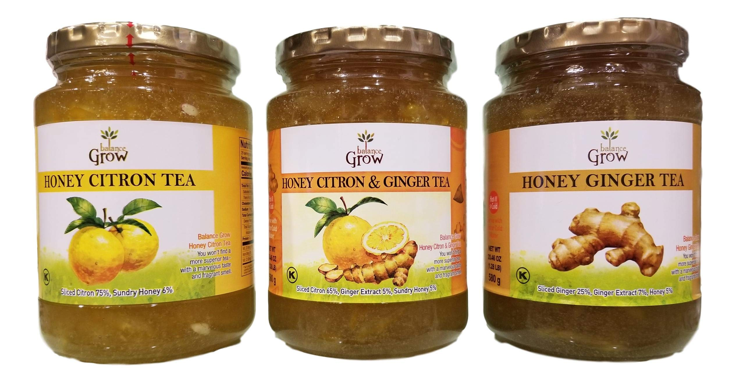 Balance Grow Honey Tea Set- Citron, Citron & Ginger, and Ginger Tea (580grams x 3ea)