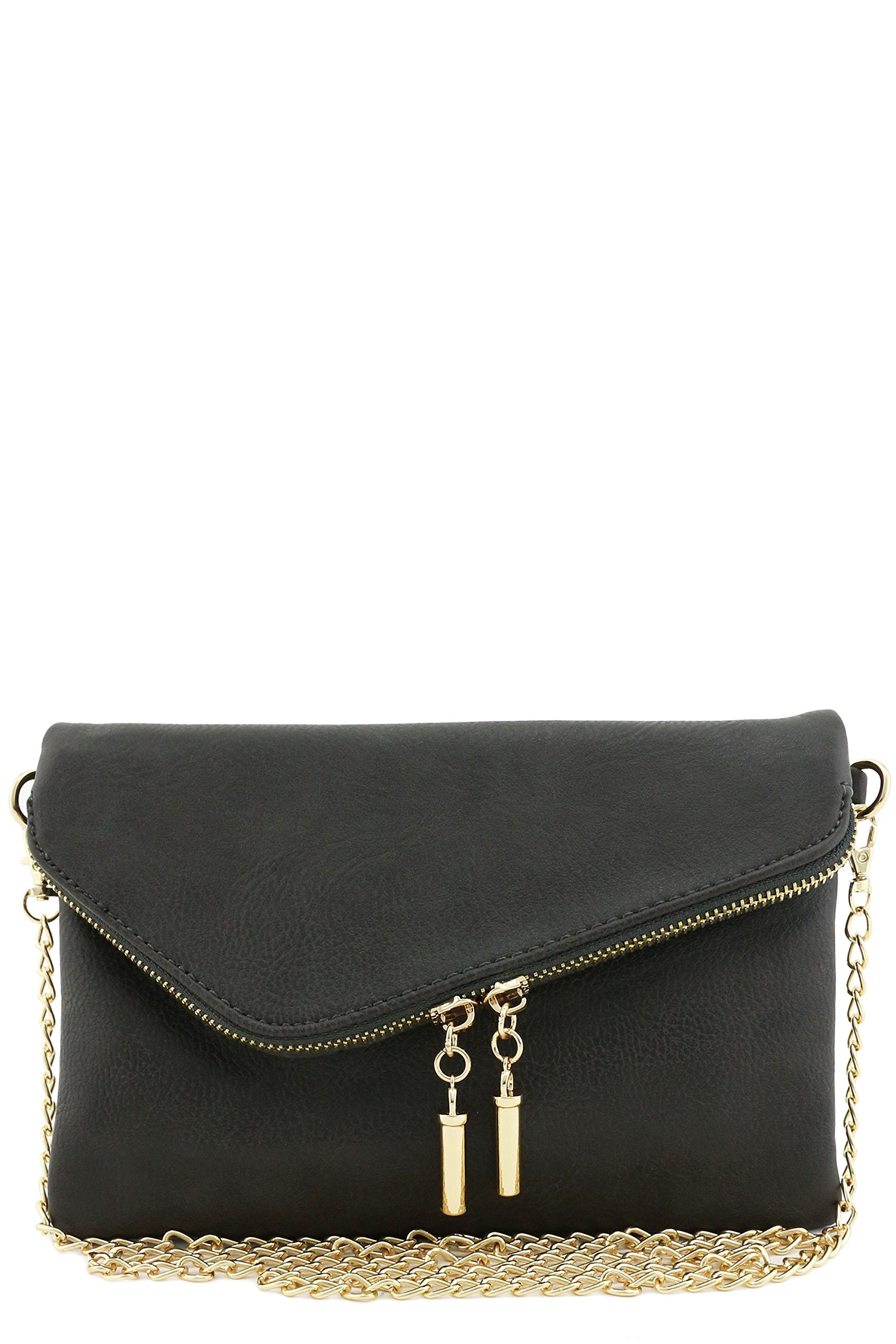 Envelope Wristlet Clutch Crossbody Bag with Chain Strap (Charcoal Grey)