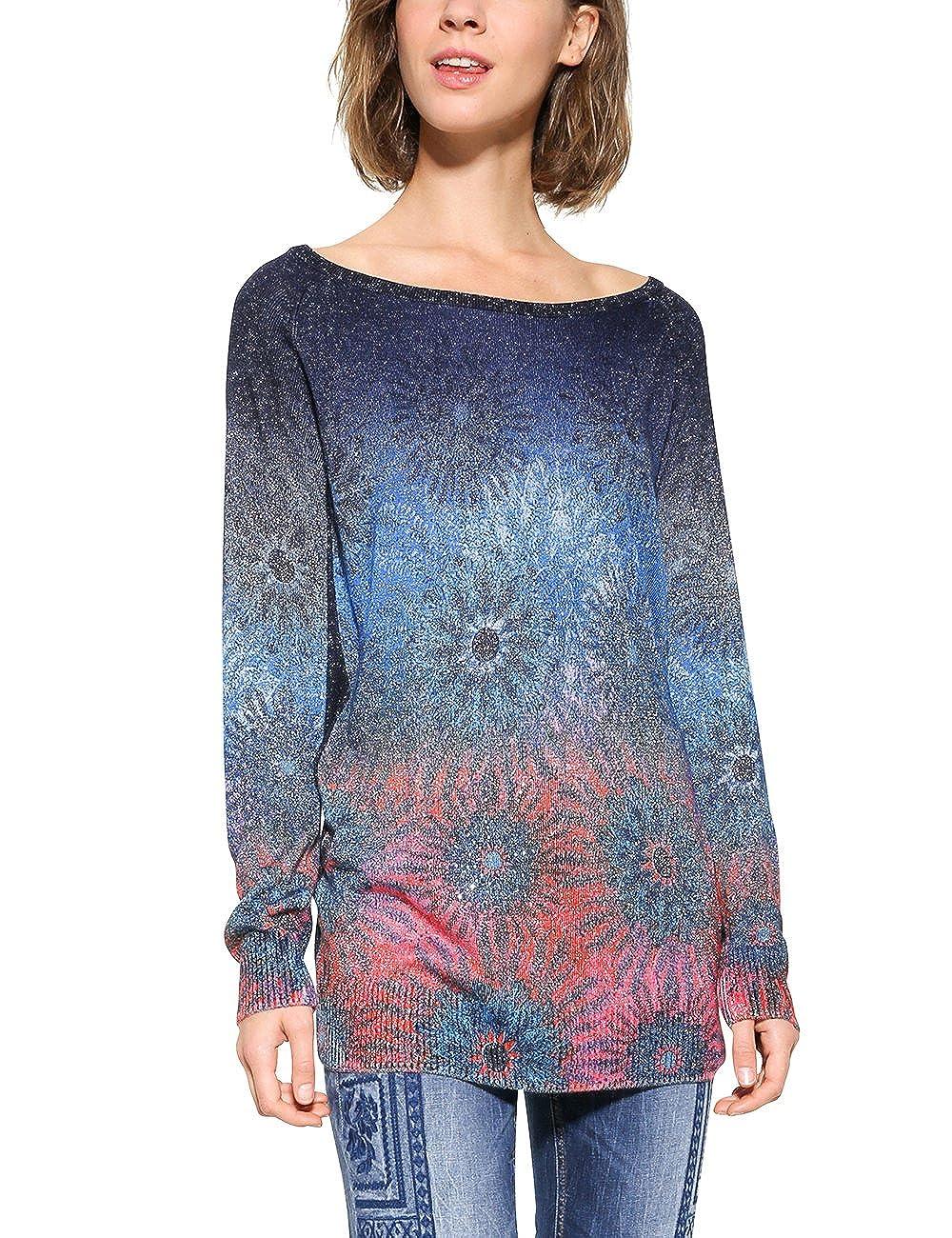 Desigual Womens Basic Carlin Woman Flat Knitted Thin Gauge Pullover