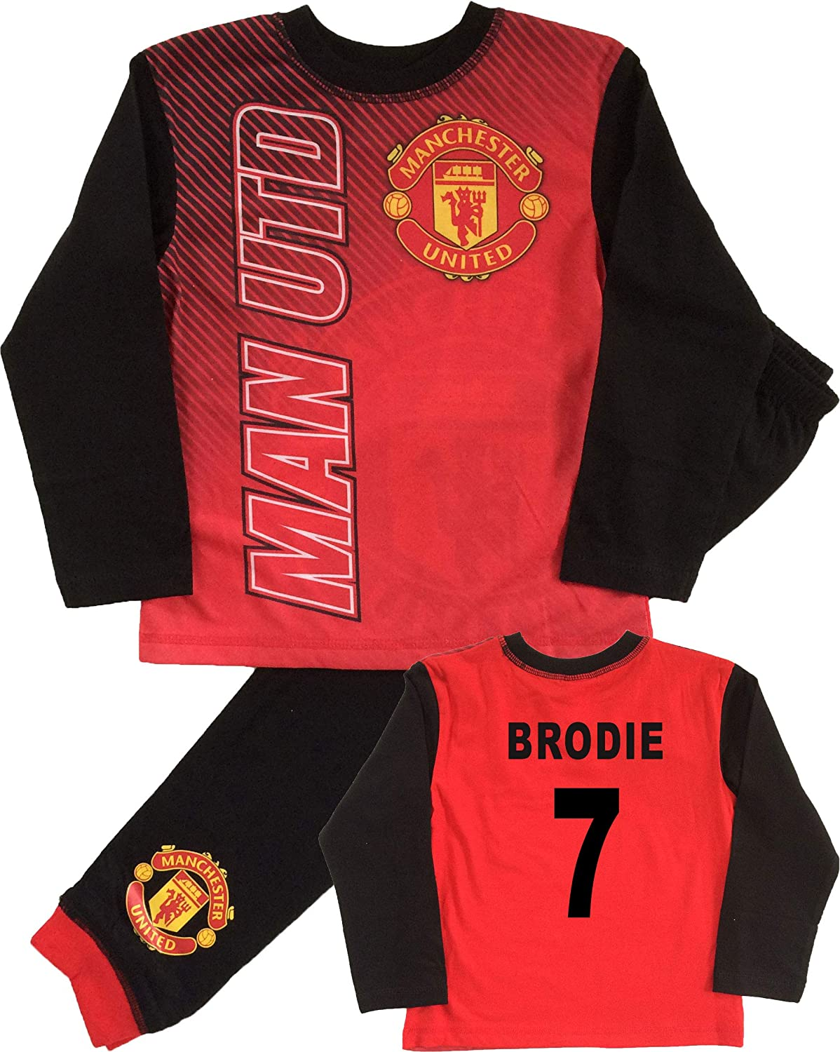 Jim Jams Kids Manchester United Football Club Personalised Pyjamas Ages 4 to 12 Years