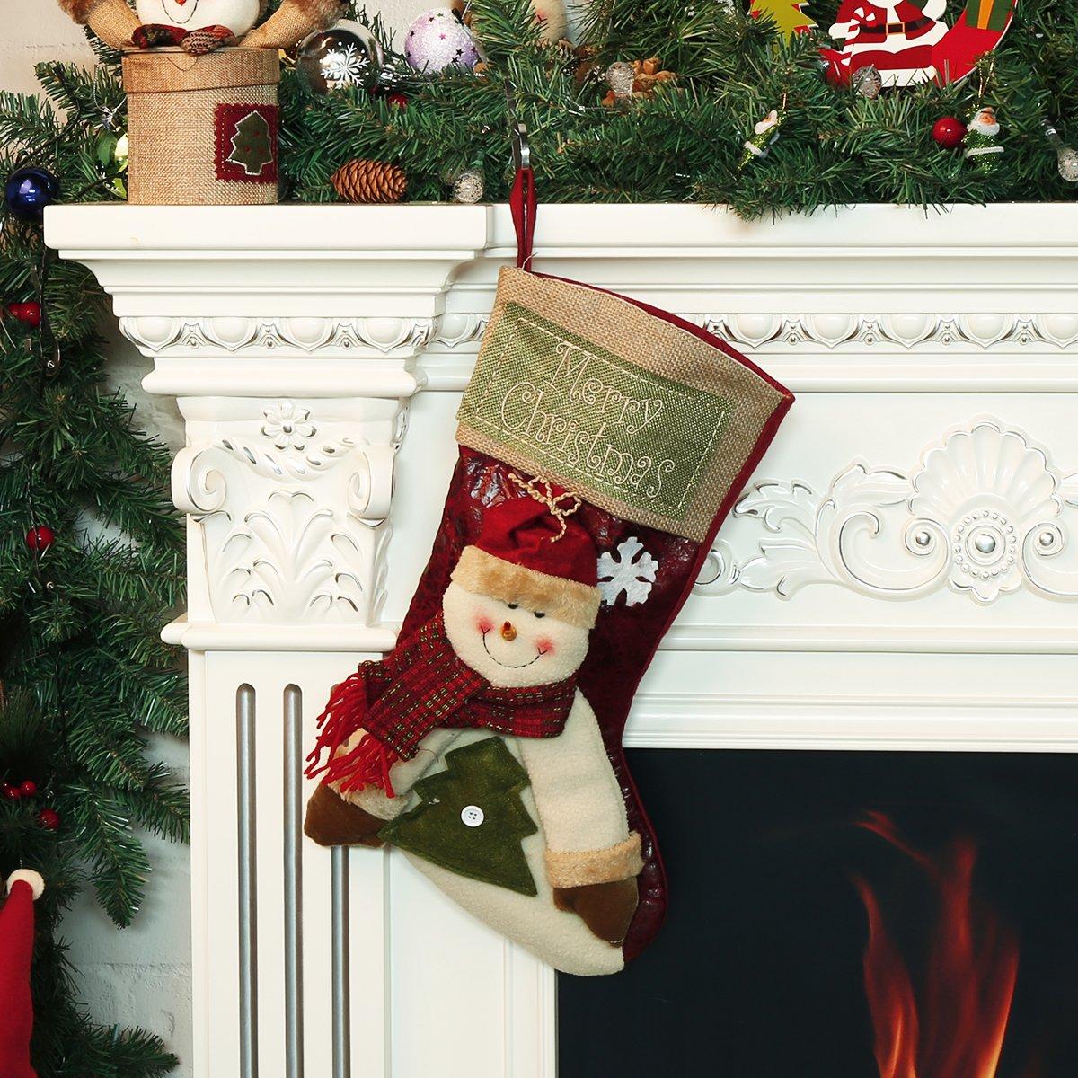 Christmas Stocking, Moonmini 3D Big Size Xmas Socks Classic Cute Christmas Hanging Decoration Stockings - Snowman