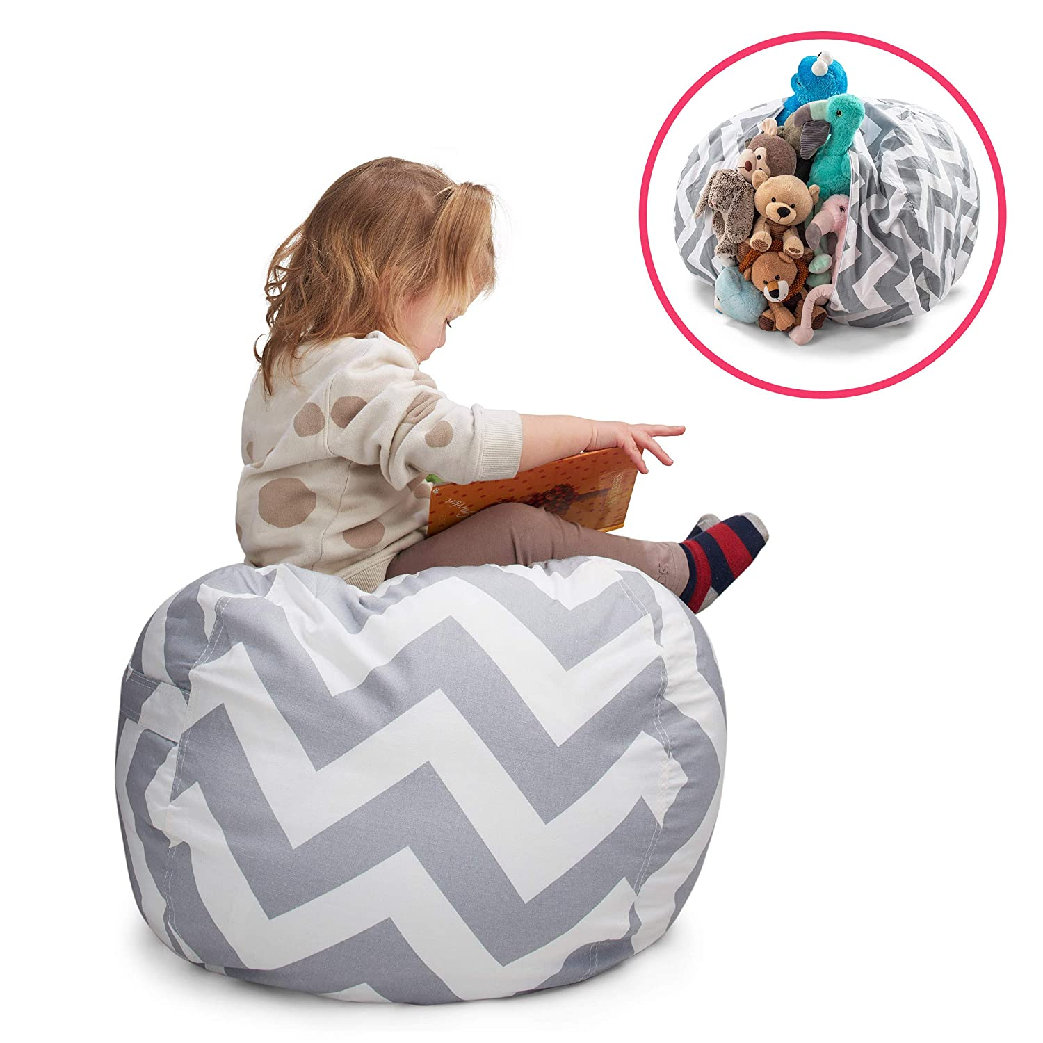Smart Additions Bean Bag Chair – Bean Bag for Stuffed Animal Storage, Stuff and Sit Bean Bag Cover for Kids, Toy Storage Bean Bag Chair, Bright Color Zigzag Bean Bag Toy Organizer, Gray – Large